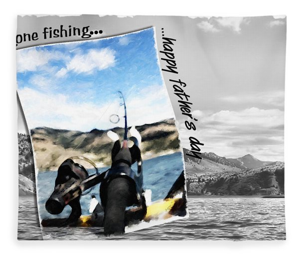 Gone Fishing Father's Day Card Fleece Blanket
