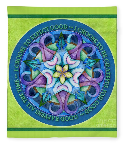 Good Happens Mandala Prayer Fleece Blanket