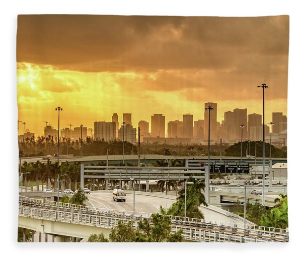 Miami City Sunrise Fleece Blanket