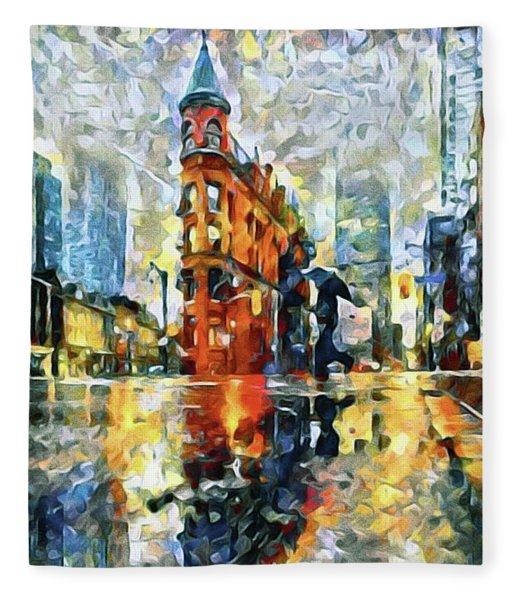 Fleece Blanket featuring the mixed media Gooderham Flatiron Building In The Rain by Susan Maxwell Schmidt