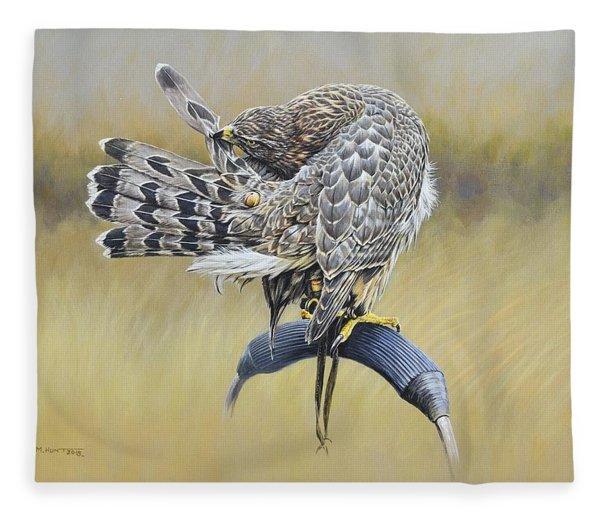 Fleece Blanket featuring the painting Goshawk Preening by Alan M Hunt