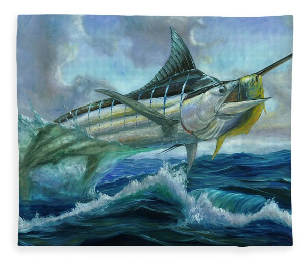 Grand Blue Marlin Jumping Eating Mahi Mahi Fleece Blanket