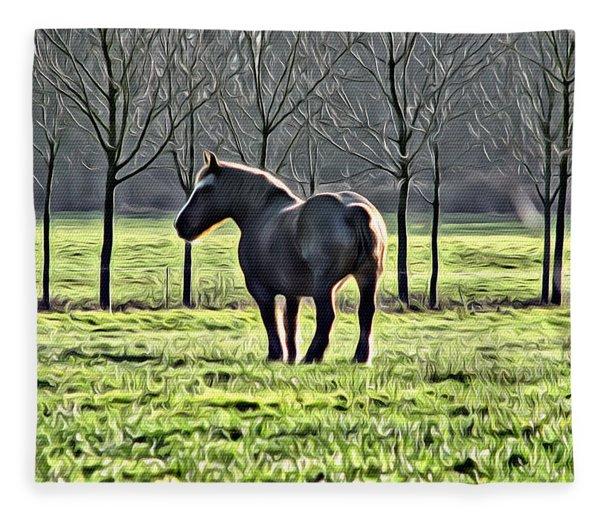 Gray Horse Fleece Blanket