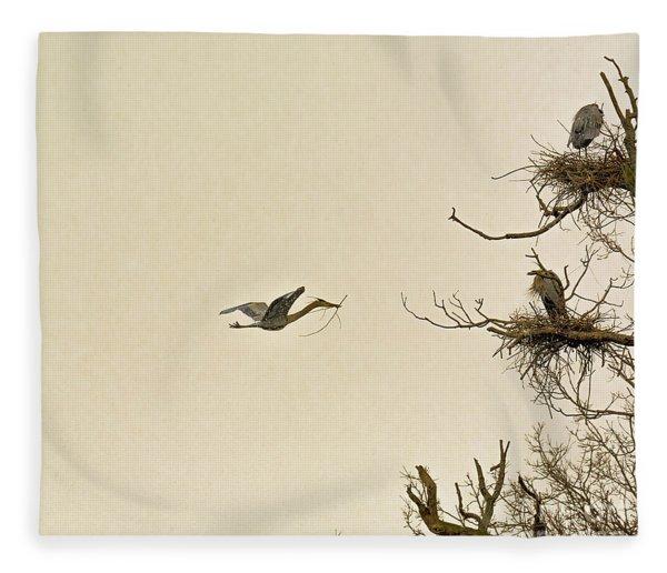 Great Blue Heron Nest Building Fleece Blanket
