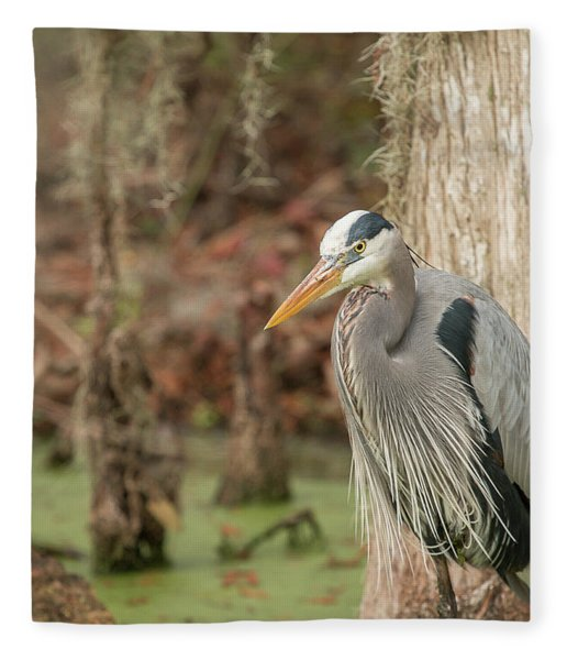 Great Blue Heron On Guard Fleece Blanket