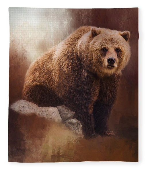 Great Strength - Grizzly Bear Art Fleece Blanket