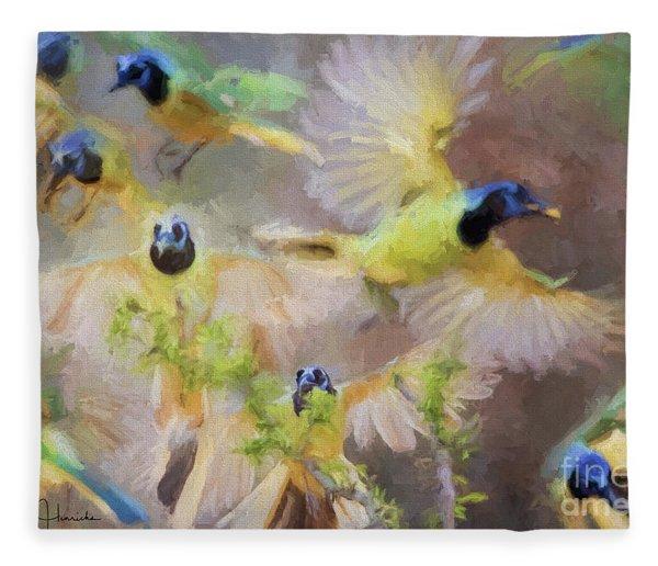 Green Jay Collage Fleece Blanket