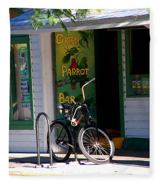 Green Parrot Bar Key West Fleece Blanket