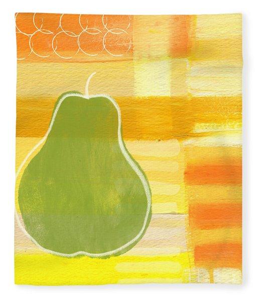 Green Pear- Art By Linda Woods Fleece Blanket