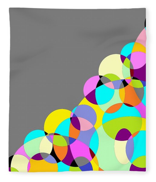 Grey Multicolored Circles Abstract Fleece Blanket