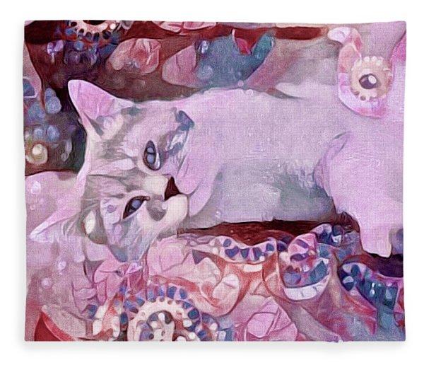 Fleece Blanket featuring the mixed media Grizabella by Susan Maxwell Schmidt
