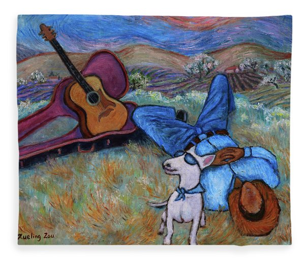 Guitar Doggy And Me In Wine Country Fleece Blanket