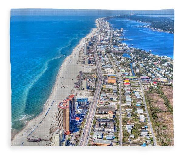 Gulf Shores Beach Looking W Fleece Blanket