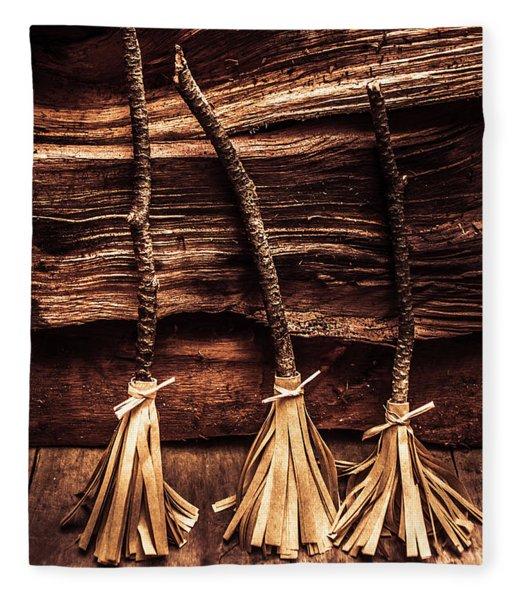 Halloween Witch Brooms Fleece Blanket