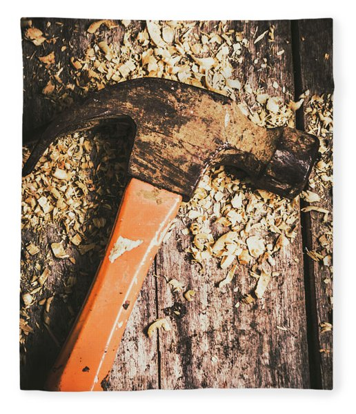 Hammer Details In Carpentry Fleece Blanket