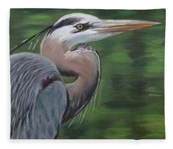 Handsome Heron Fleece Blanket