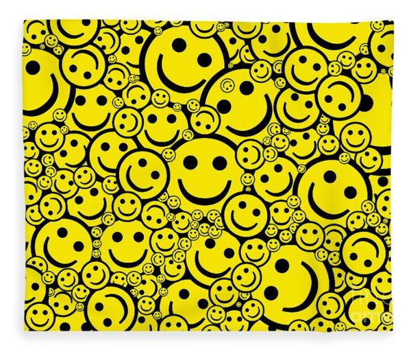 Happy Smiley Faces Fleece Blanket