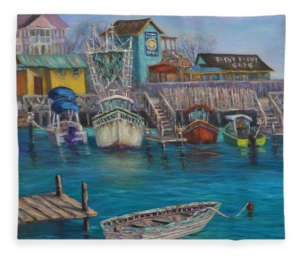 Harbor Boats Coastal Painting Of Southport North Carolina Fleece Blanket