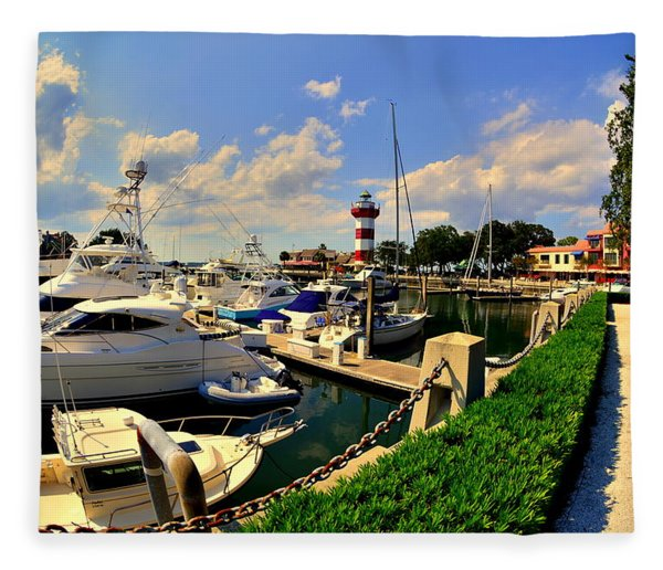 Harbour Town Marina Sea Pines Resort Hilton Head Sc Fleece Blanket