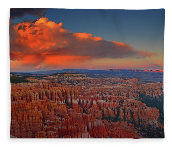 Fleece Blanket featuring the photograph Harvest Moon Over Bryce National Park by Raymond Salani III