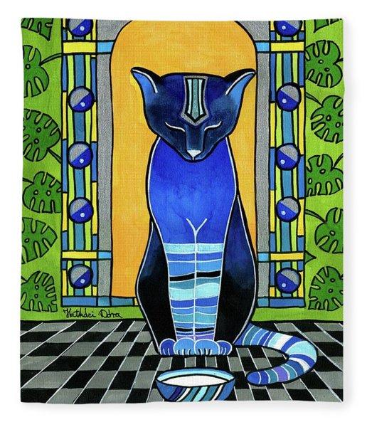 He Is Back - Blue Cat Art Fleece Blanket