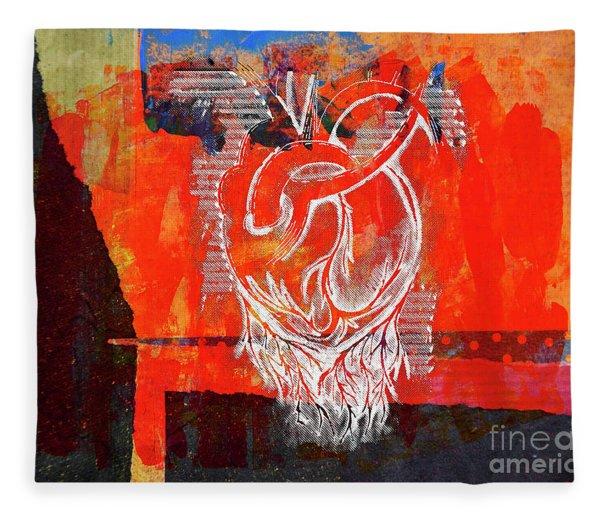 Heart On Texture Wall Fleece Blanket