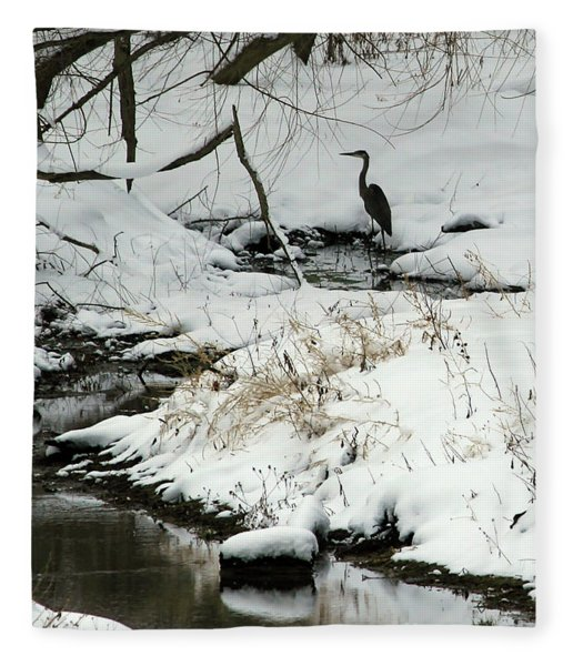 Heron In Winter Fleece Blanket