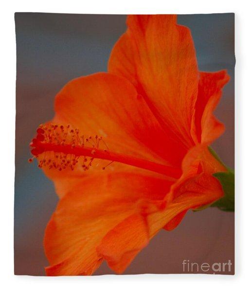Hot Orange Hibiscus Fleece Blanket