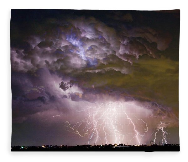 Highway 52 Storm Cell - Two And Half Minutes Lightning Strikes Fleece Blanket