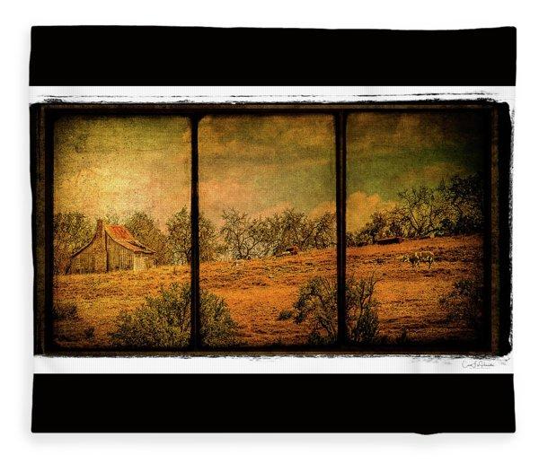 Hillside Farm Scene Triptych Fleece Blanket