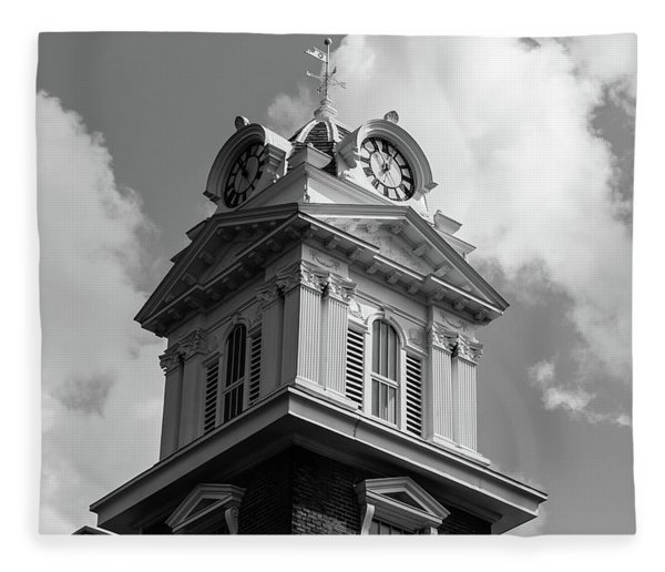 Historic Courthouse Steeple In Bw Fleece Blanket