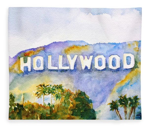 Hollywood Sign California Fleece Blanket