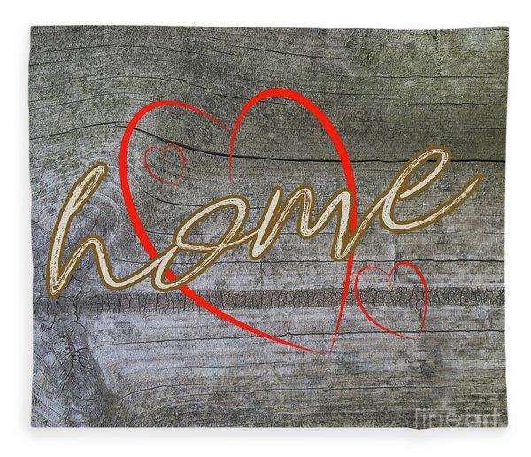 Home With Hearts Fleece Blanket