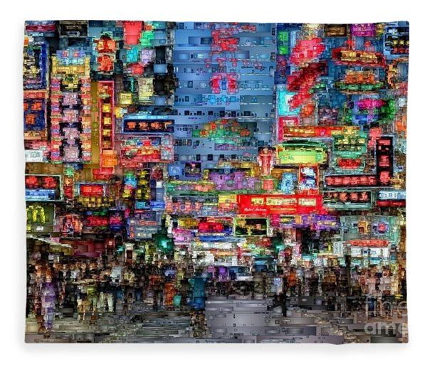 Hong Kong City Nightlife Fleece Blanket