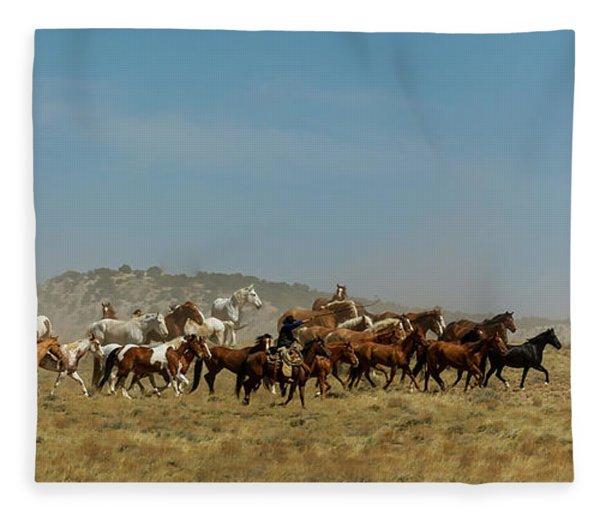Horse Drive Fleece Blanket
