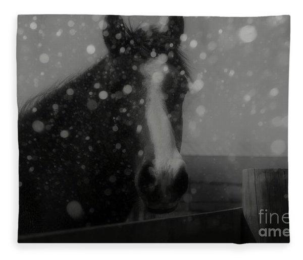 Horse In Falling Snow Fleece Blanket