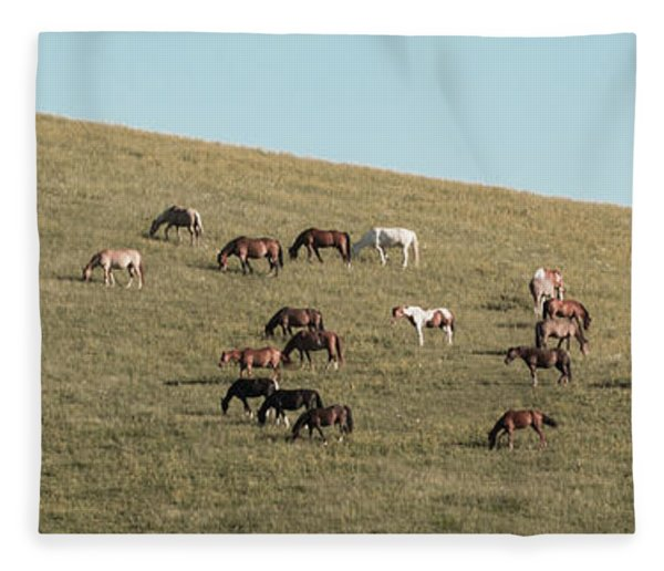 Horses On The Hill Fleece Blanket