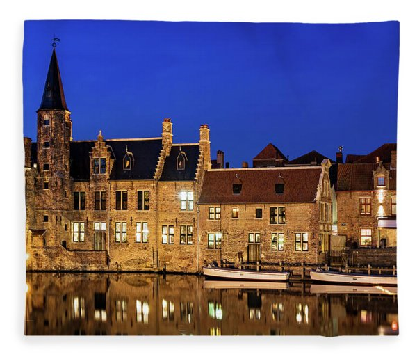 Fleece Blanket featuring the photograph Houses By A Canal - Bruges, Belgium by Barry O Carroll