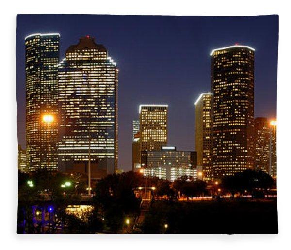 Houston Skyline At Night Fleece Blanket