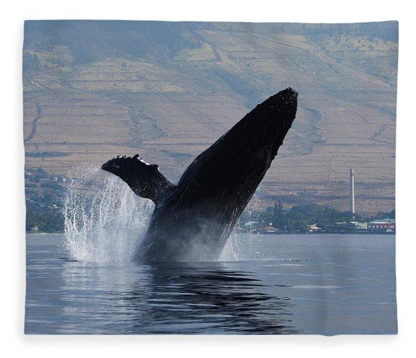 Humpback Whale Breach Fleece Blanket
