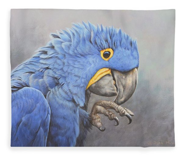 Fleece Blanket featuring the painting Hyacinth Macaw by Alan M Hunt