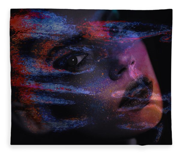 Fleece Blanket featuring the digital art I Breathe Art Therefore I Am Art by ISAW Company