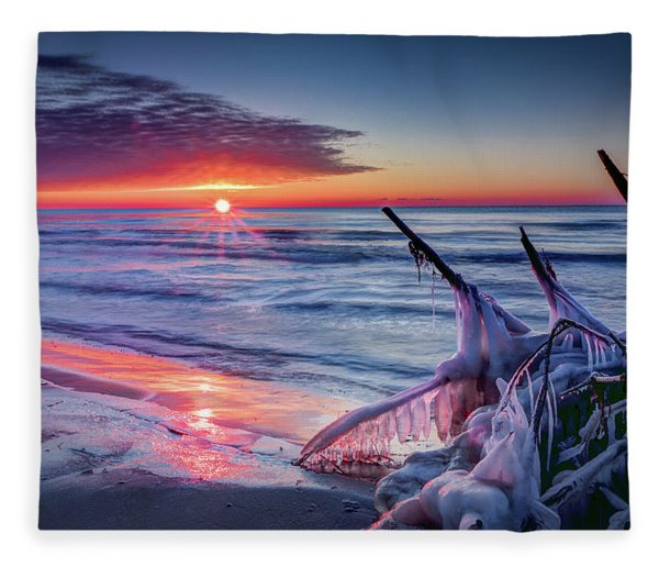 Ice Age Sunrise 1 Fleece Blanket