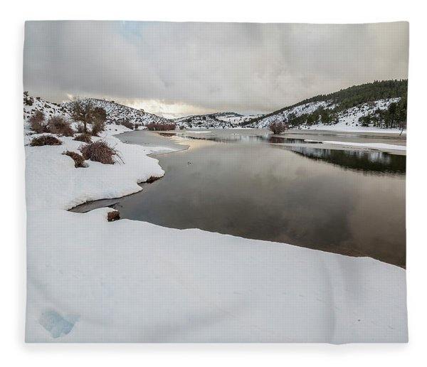 Ice In The River Fleece Blanket
