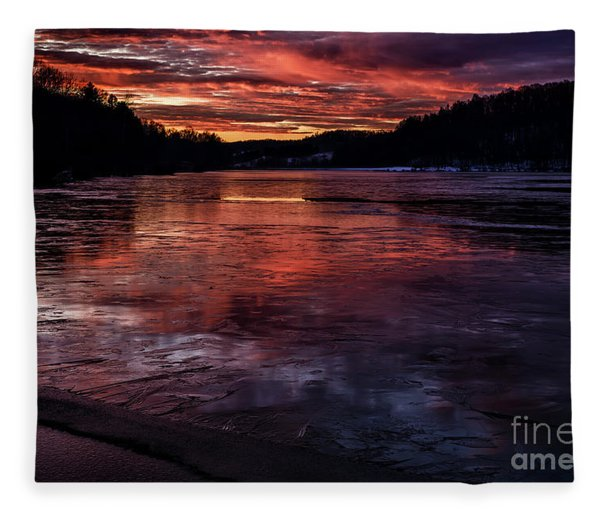 Icy Dawn On The Lake Fleece Blanket