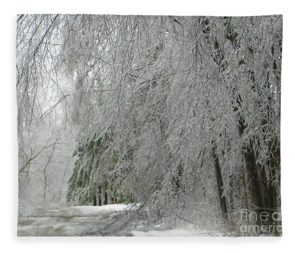 Icy Street Trees Fleece Blanket