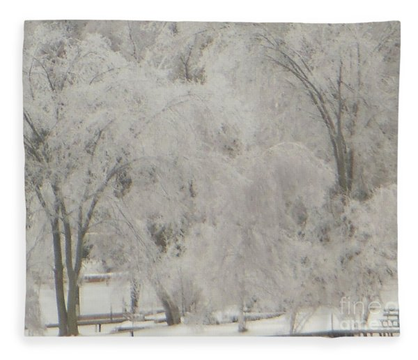 Icy Trees Fleece Blanket