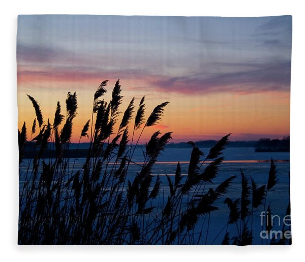 Illinois River Winter Sunset Fleece Blanket