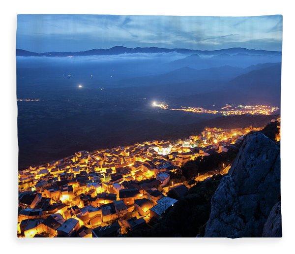 Illuminated Country At Night Fleece Blanket