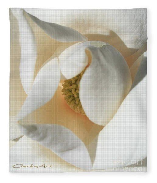 Illuminated Magnolia Macro Fleece Blanket